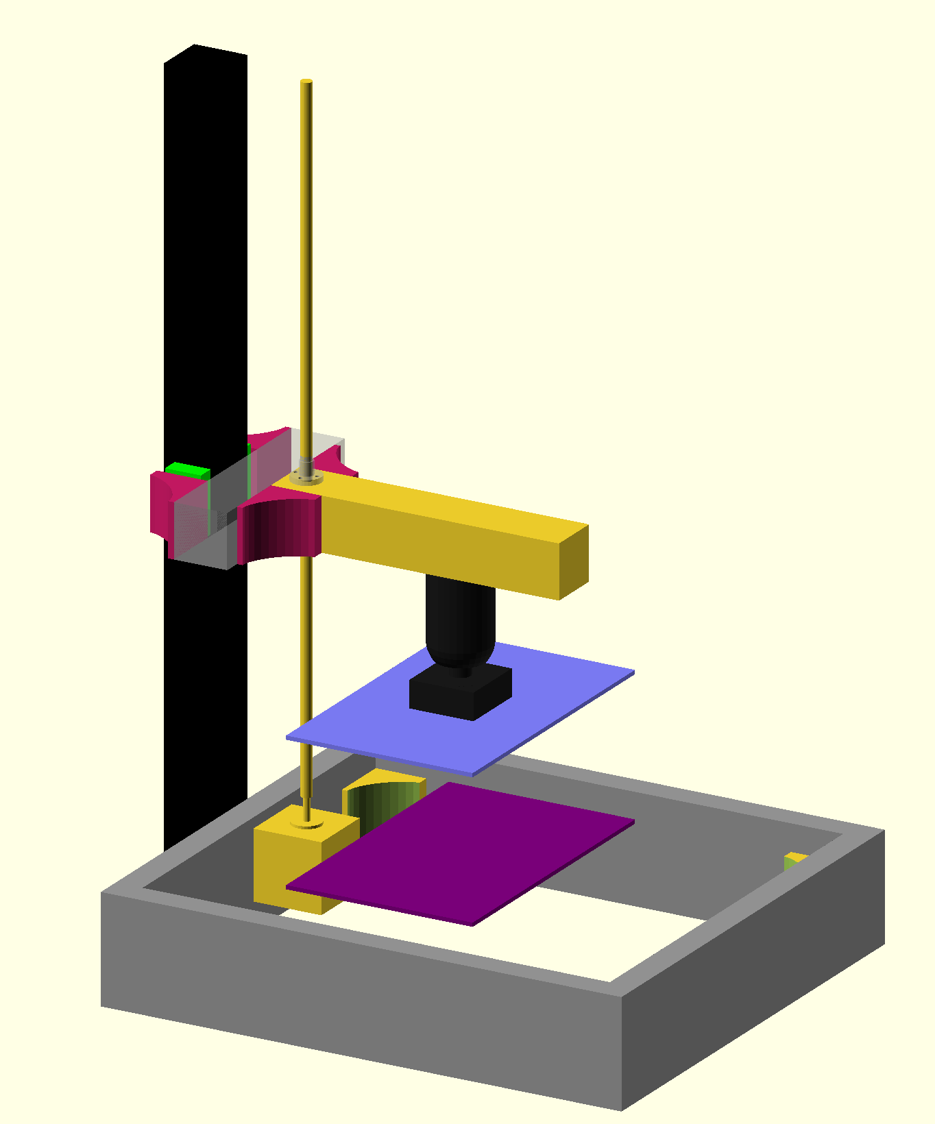 First draft of a single column resin printer with build plate and ball head attachment.